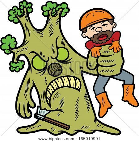 Lumberjack Caught By Tree Cartoon Illustration Isolated on White