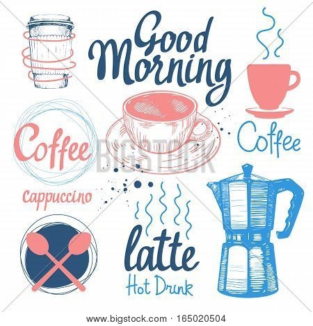 Set of sketch coffee funny labels on white background. Hot drinks menu. Vector Illustration with cup, maker and spoon. Decorative elements for your packing design. Multicolor decor.