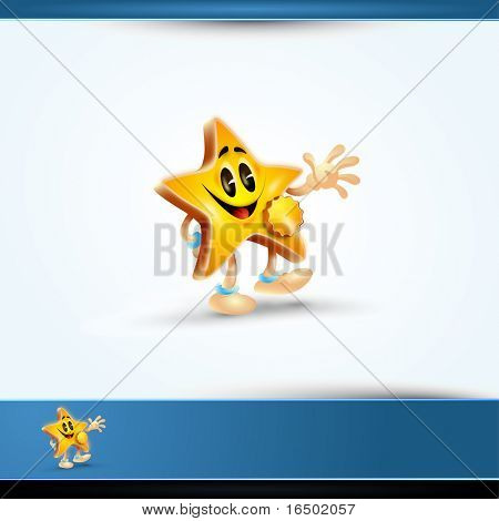 Highly Detailed 3DVector Star Character Having a Wearing a Medal for Your Label - Cute Comic Cartoon Character with Huge Smile.
