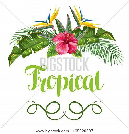Invitation card with tropical leaves and flowers. Palms branches, bird of paradise flower, hibiscus.