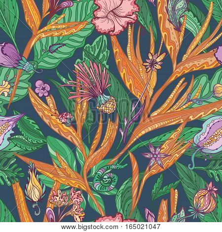 Seamless sketch outline hand painted background with exotic flowers and leaves for textile and paper design