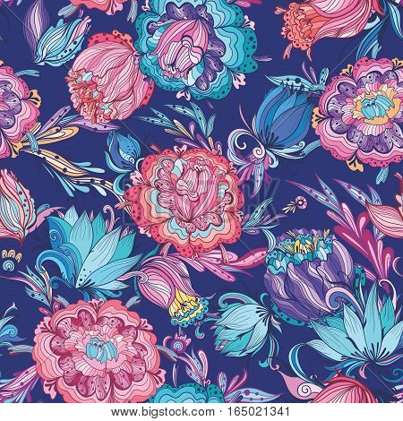Magical seamless texture with lotus and peony flowers on indigo background for paper and textile design