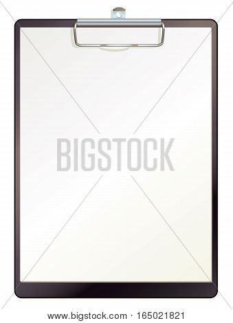 Black clipboard with blank sheets of paper. Top view. Vector illustration. Isolated on white background. Set