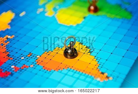 Pushpins On A Map Of South America
