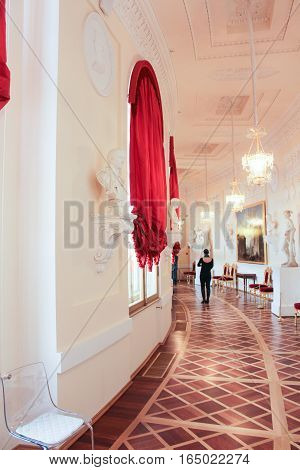 Gatchina, Russia - 3 December, Greek semicircular gallery, 3 December, 2016. Visit the Museum Reserve Gatchina Palace.