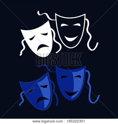 Vector Theatrical masks - isolated  Tragedy and Comedy