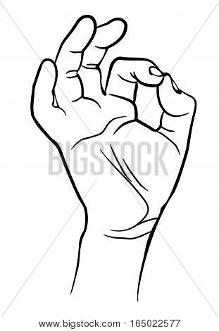 Man hand showing ok sign. Vector illustration. Isolated on white background