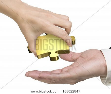 Hand Giving One Golden Puzzle Piece