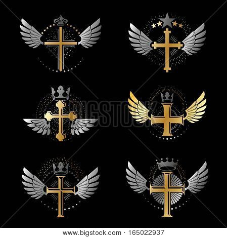 Crosses Religious emblems set. Heraldic Coat of Arms vintage vector signs collection.