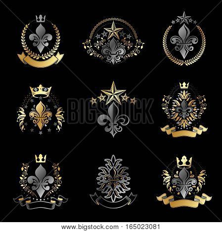 Royal Symbols Lily Flowers Emblems Set. Heraldic Vector Design Elements Collection. Retro Style Labe