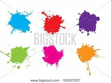 Colorful paint splatters.Paint splashes set. Vector illustation