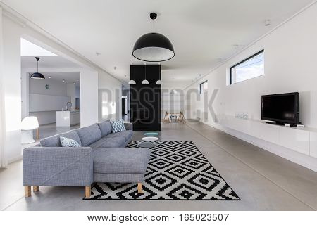 Minimalist Living Room In White