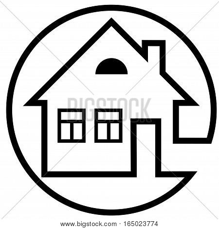 Round icon house with a chimney and windows with black outline - vector