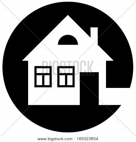 Round home icon with chimney and window on a black background- vector