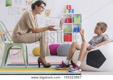 Boy During Session With Psychologist