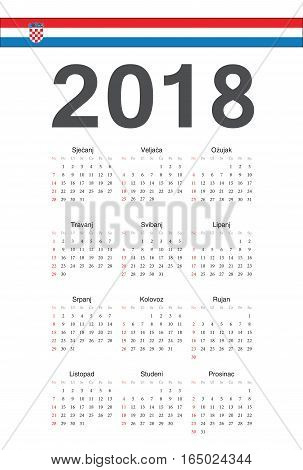Croatian 2018 Year Vector Calendar
