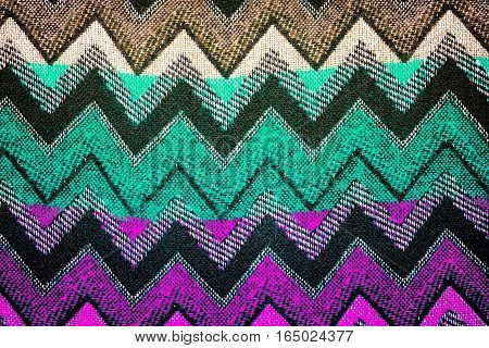 multi colored handmade knitted zig zag pattern