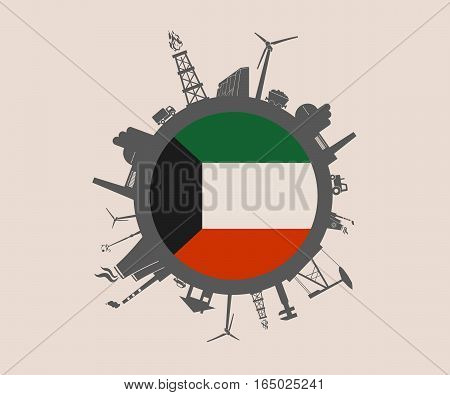 Circle with industry relative silhouettes. Vector illustration. Objects located around the circle. Industrial design background. Kuwait flag in the center.