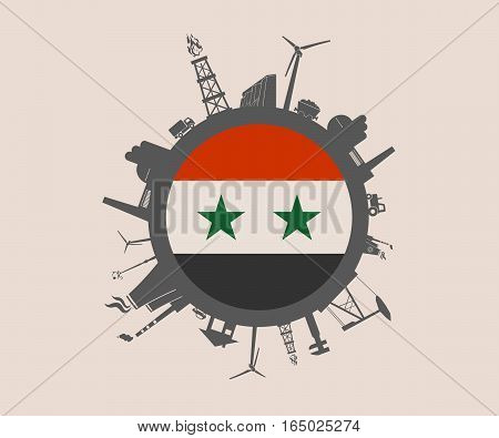 Circle with industry relative silhouettes. Vector illustration. Objects located around the circle. Industrial design background. Syria flag in the center.