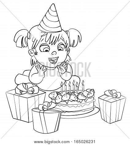 Little girl having fun celebrating her birthday. Lots of gifts and cake. Coloring book. Vector illustration. Isolated on white background