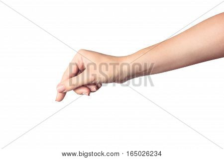 Woman hand hold object or other isolated on white background. isolated on white background