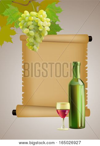 Vector ripe grapes, wine glass and bottle wine .