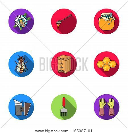 Apiary set icons in flat style. Big collection of apiary vector symbol stock