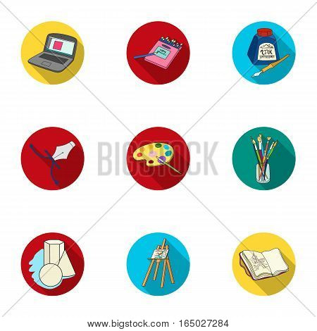 Artist and drawing set icons in flat design. Big collection of artist and drawing vector symbol stock illustration