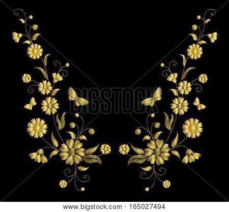 Embroidery Flower Necklace Ornament Field Rustic Vector Vintage Retro Gold