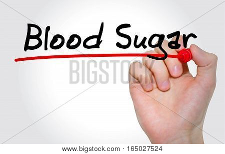 Hand Writing Inscription Blood Sugar With Marker, Concept