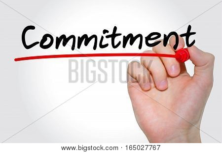Hand writing inscription Commitment with marker concept poster