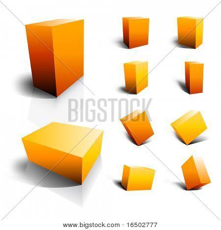 Leere Vektor 3D Boxen - gelb und orange