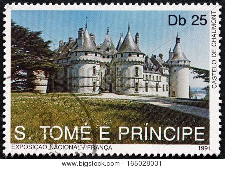 SAO TOME AND PRINCIPE - CIRCA 1991: a stamp printed in Sao Tome and Principe shows Chaumont Castle Landmarks of France circa 1991