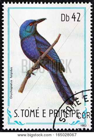 SAO TOME AND PRINCIPE - CIRCA 1983: a stamp printed in Sao Tome and Principe shows Chestnut-winged Starling Onychognathus Fulgidus Bird circa 1983