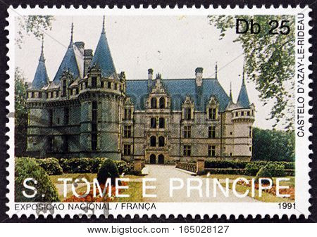 SAO TOME AND PRINCIPE - CIRCA 1991: a stamp printed in Sao Tome and Principe shows Azay-le-Rideau Castle Landmarks of France circa 1991