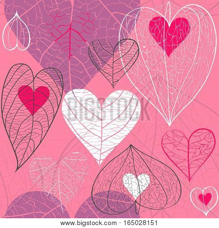 Seamless vector pattern of red and white hearts with plant veins physalis and leaves on pink background. Concept of for Valentine's Day weddings autumn.