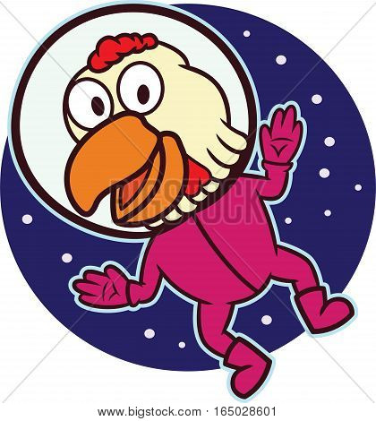 Space Chicken in Space Suit Cartoon Illustration