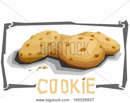 Vector simple illustration of chocolate cookies in angular cartoon style.