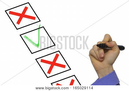 Checkbox With Crosses And Ticks Isolated On White