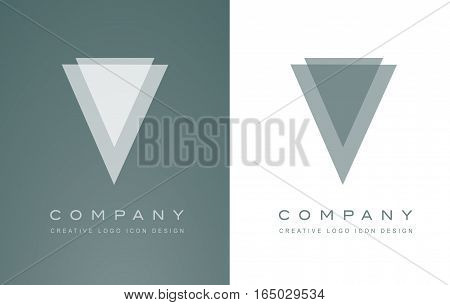 Alphabet letter V abstract transparent white blue vector logo icon sign design template