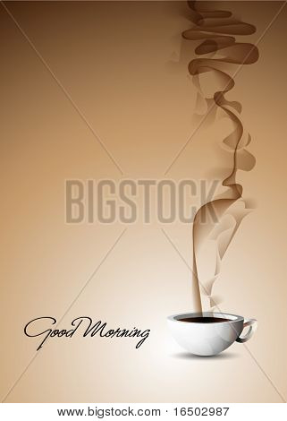 Good Morning - Vector Illustration of a fuming cup of coffee