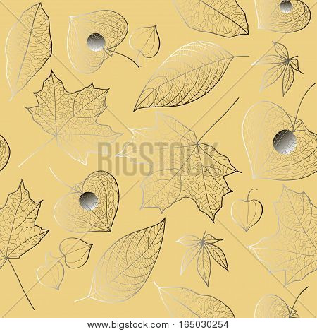 Autumn seamless vector pattern. The structure of the maple leaf walnut physalis flowers with veins with gradient fill on a light beige background.