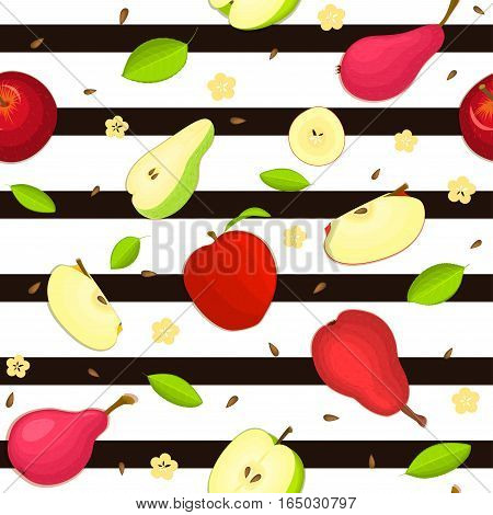 Seamless vector pattern of ripe apple and pear fruit. Striped background with delicious juicy pears and apples slice half leaves. Vector fresh fruit Illustration for printing on fabric, textile design