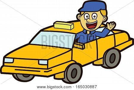 Taxi Driver with Taxi Car Cartoon Illustration Isolated on White