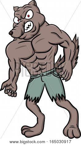Wild Werewolf Cartoon Character Isolated on White