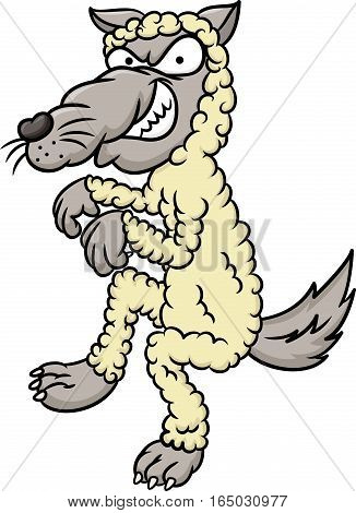 Wolf Dressed As Sheep Cartoon Illustration Isolated on White