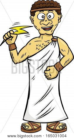 Young Zeus Cartoon Character Isolated on White