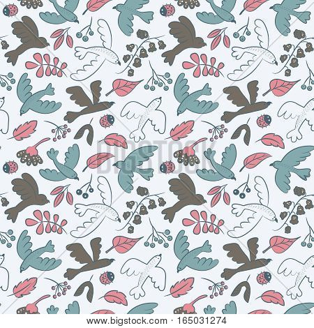 Vector seamless pattern with cute cartoon birds plants berries and ladybirds. Flora and fauna decorative background.