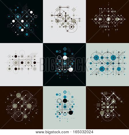 Bauhaus art composition. Set of decorative modular vector backdrops with circles and grid. Retro style patterns collection graphic backdrops for use as booklet cover templates.
