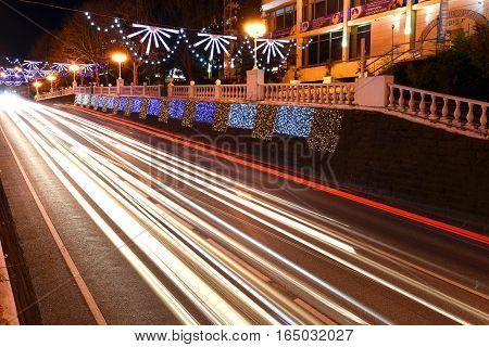 12 January 2017, Sochi Russia. Night scene of the Central street of the city-Kurortny Prospekt. Prolonged exposure